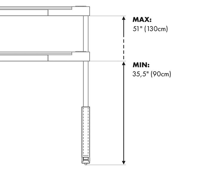 High legs dimensions