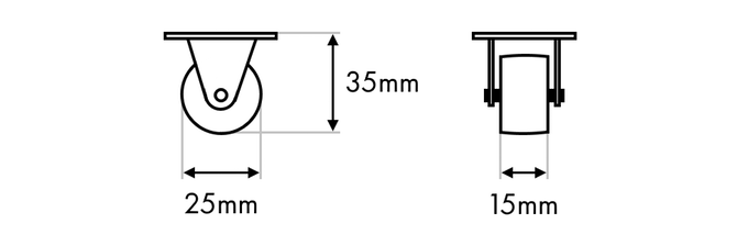 Standard casters dimensions