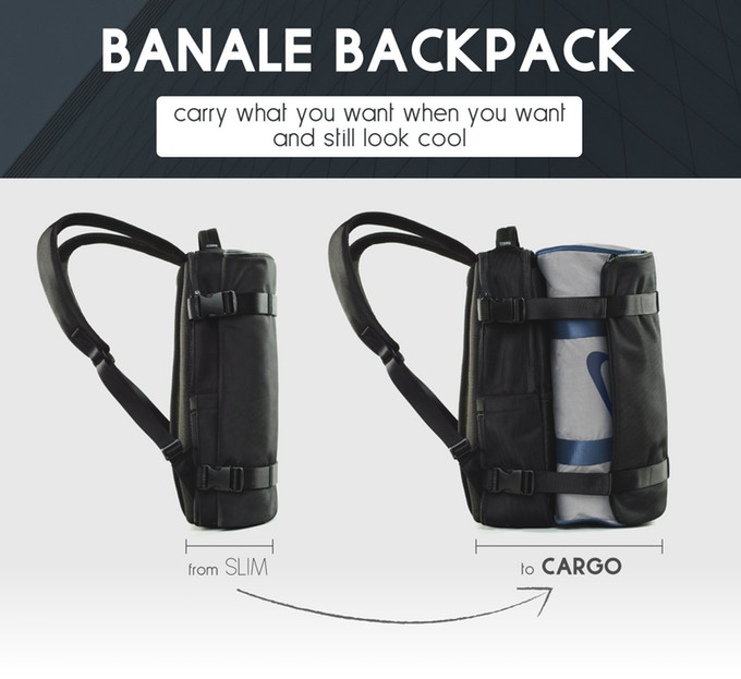 58903ae66 The Banale Backpack introduces a brand new design with the amazing wrapping  pocket that expands when you need to carry more but tightens up when you  don't.